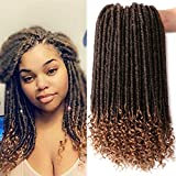 7 Packs Faux Locs Crochet Hair With Curly Ends 16 Inch Dreadlocs Goddess Locs Crochet Braids Synthetic Braiding Hair Extension (16 Inch, T27#)