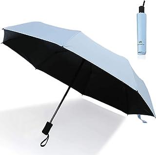 T WILKER 日傘 折りたたみ傘 ワンタッチ自動開閉 熱中症予防 男女兼用 紫外線遮断 体感温度下げ UVカット率99.9% 8本骨 耐風撥水 晴雨兼用 シンプル (ブルー)