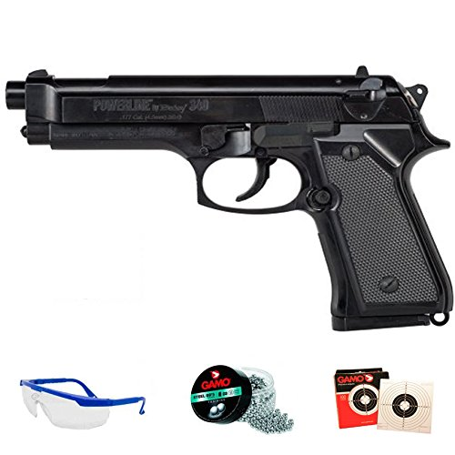 DAISY Pack 340 Powerline - Pistola de Aire comprimido (Muelle) de balines/perdigones BBS de Acero 4.5mm | Réplica Beretta 92 <3,5 Julios
