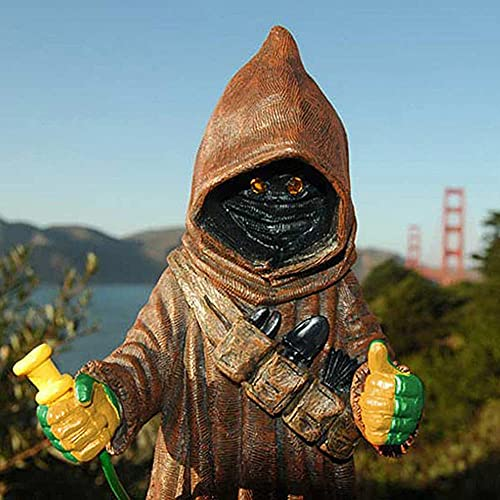 AMYZ Divertidas estatuas al Aire Libre de gnomos de jardín,Figuras de Star Wars Jawa Black Series Gnomos Decoraciones de jardín,estatuilla de Resina de Escultura de césped Mandalorian Jawas,Haz q