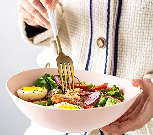 Yusi pink porcelain cereal bowl, Salad Bowl, Pasta bowl ,28 ounces Ramen Bowl ,bowls for kitchen,Porcelain Wavy Salad Bowl,Breakfast bowl, Dishwasher and Microwave Safe , 8 Inches Pink