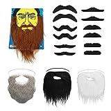 AYEUPZ Fausses barbes 16 pcs Moustaches Set Autocollant drôle Faux Barbe pour...