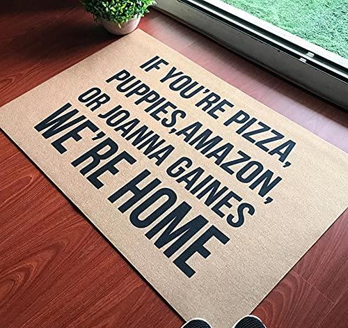 Felpudo de entrada divertido para el hogar, la oficina, la puerta decorativa de goma para interiores y exteriores, si eres pizza, cachorros, Amazon