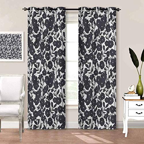 Grommet Window Curtain Floral, Gardening Flowers Keep Warm Draperies for Living Room Family Room for Kids W63 x L45 Inch