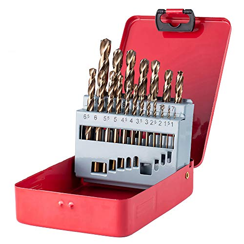 Hymnorq Metric 1mm to 10 mm Straight Shank M35 Grade Cobalt Steel Jobber Length Twist Drill Bits Set of 19pcs for Metals, Packed in Indexed Metal Case