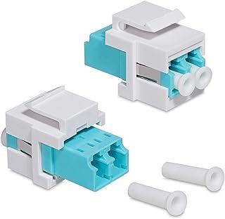 kwmobile 2X Adaptateur Keystone Coupleur Fibre Optique - Module Connecteur pour Câble Réseau LC-Duplex - Montage Snap-in -...