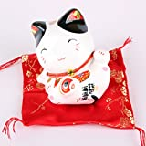 Maneki Neko Figur - kleine japanische Glückskatze mit Kissen - Winkekatze aus Porzellan - Feng Shui Glücksbringer und Spardose (Schwarz)
