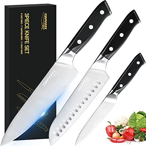 Professional Chef Knife Set Sharp Knife, German High Carbon Stainless Steel Kitchen Knife Set 3...