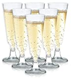 Clear Plastic Champagne Flutes (5 oz, 50-Pack)