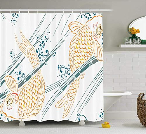 SHUHUI Zelt aus japanischen Fischen aus asiatischen Fischen in der Farbe der Stempel: Tema Spirituale Orientale Arredocon Marigold Blau Petrol