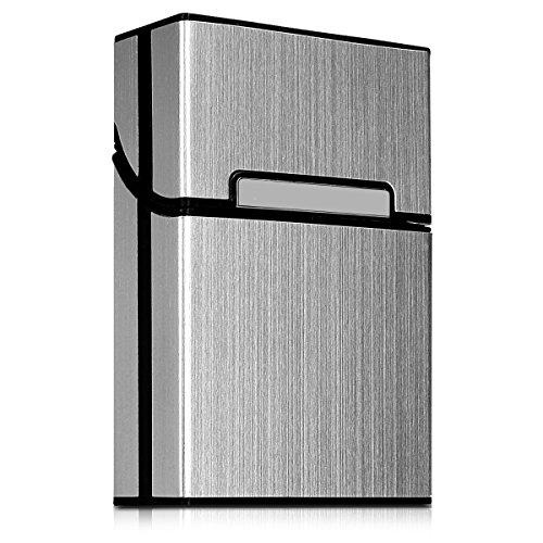 kwmobile Zigarettenetui Zigarettenbox Hülle für Zigaretten - Aluminium Etui mit Magnetverschluss in Silber