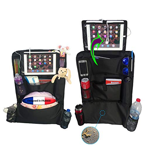 Organizadores para asientos de coche PREMIUM 2 pzs. Protección de asiento trasero de gran tamaño con soporte para tableta 10.5'' de 2 posiciones. Protectores impermeables y fáciles de limpiar