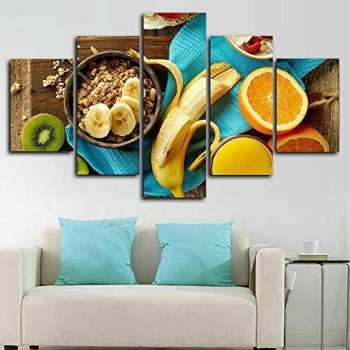 HJIAPO Composición De 5 Cuadros De Madera para Pared Cocina De Frutas Impresión Artística Imagen Gráfica Decoracion De Pared Abstracto150*80Cm