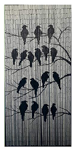 TACHILC The Birds Bamboo Beaded Curtain for Doorway, Beaded Curtain for Closets, Bamboo Door Beads Hanging Decoration, Hippie Beads for Doorways 35.5 inches x 78 inches