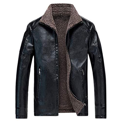 MAYOGO Herren Jacke Warmer Fleece Innen Plus Samt Kunst- Lederjacke Full-Zip Winterjacke Biker Motorradjacke Lederimitat Jacke Bomba Jacke Bomber Jacke (Schwarz, M)