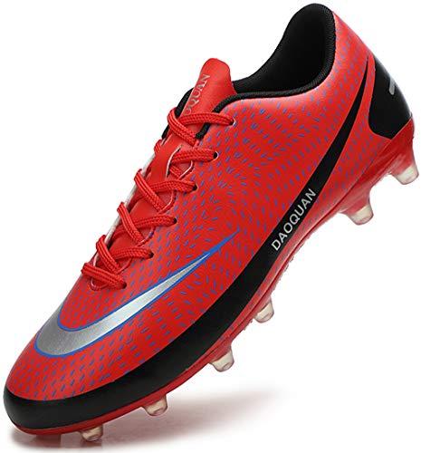 DimaiGlobal Zapatillas de Fútbol Hombre Profesionales Training Botas de Fútbol Spike Aire Libre Atletismo Zapatos de Entrenamiento Zapatos de Deporte 43EU Rojo