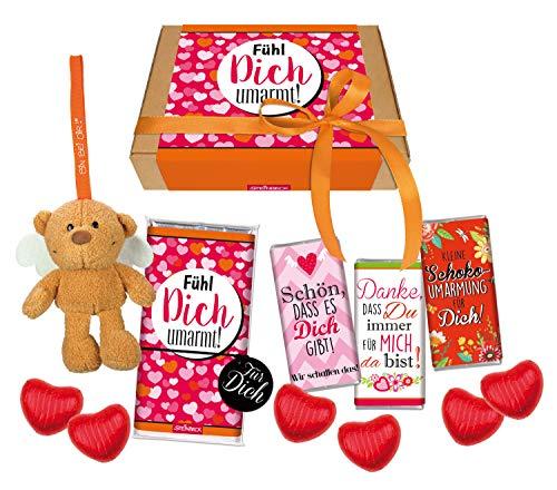 STEINBECK Geschenkset Fühl Dich umarmt Schokoumarmung Plüsch Schutzengel Bär von Herzen Schokolade Geschenkbox Weihnachten