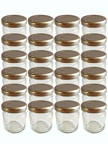 28er Set leere Rundgläser Mini Gläser 53 ml Deckelfarbe Silber To 43 Sturzgläser Marmeladengläser Einweckgläser Honig, Gläser, Einmachgläser, Portionsgläser, Probiergläser Imker Honiggläser