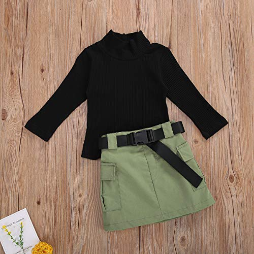 Toddler Baby Girl Clothes Long Sleeve Sweater Tops+Short Skirts Kids Girl 2Pcs Fall Fashion Outfits Set (Army Green, 4-5 Years)
