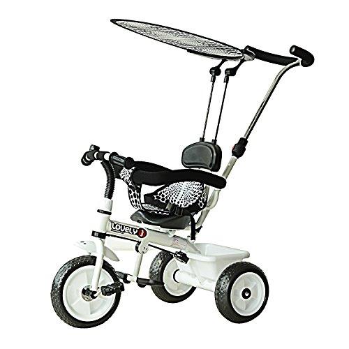 HOMCOM Tricycle Enfants Pare-Soleil Pliable Canne Amovible Benne Rangement 103 x 47 x 101 cm Acier Blanc et Noir