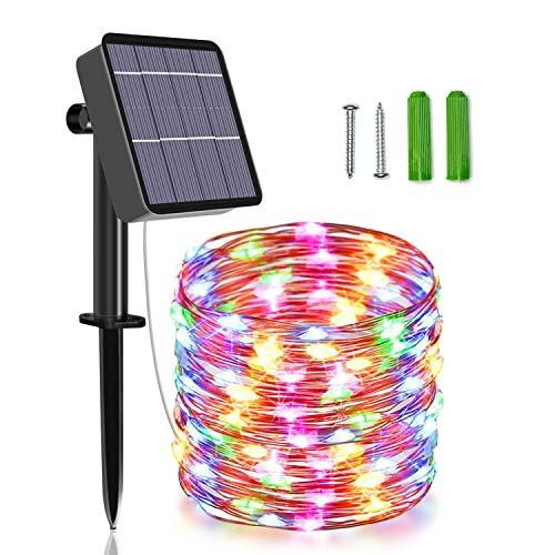 Unihoh Solar String Lights, 85 FT 240 LED Outdoor Solar Powered Fairy Lights with 8 Modes, Waterproof Decoration Copper Wire Garden Lights for Patio Yard Trees Christmas Wedding Party (Multi Color)