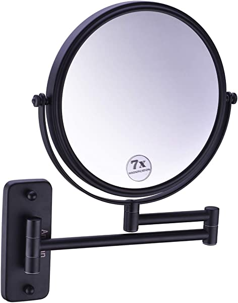 Anpean 8 Inch Double Sided Swivel Wall Mounted Makeup Mirror With 7x Magnification Matte Black