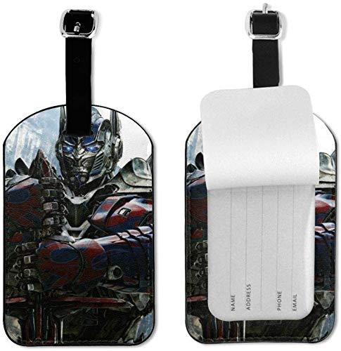 Transformers - Etiquetas de Equipaje con Correa Ajustable de Piel para Equipaje o Maletas - Juego de Etiquetas de identificación para Viajes