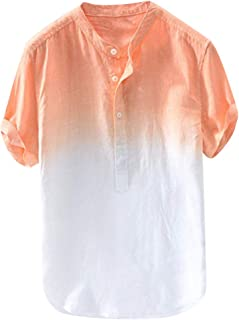 Men's Cotton Linen Shirt Breathable Collar Hanging Dyed Gradient Short Sleeve Button Tee Tops Blouse