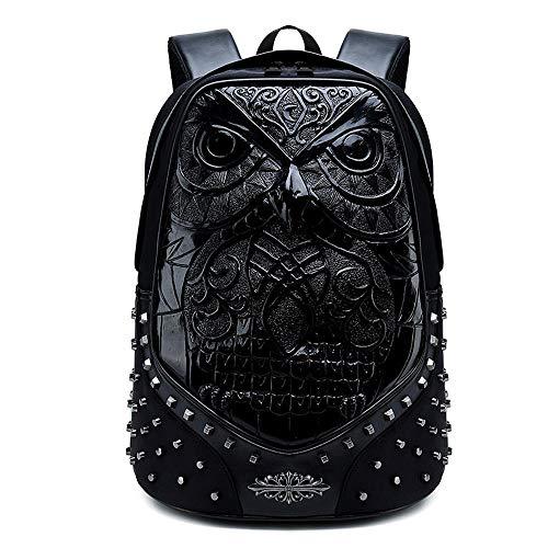 Rossie Viren Zainetto con borchie, motivo gufo 3D, per computer portatile, borsa da viaggio - Nero -
