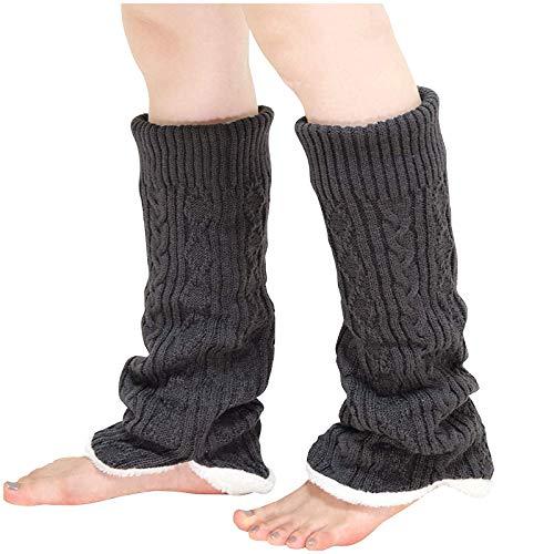A/H Winter Kniebandage Beinwärmer Beinstrümpfe, Wärmerschutz Elastische Kniewärmer Thermo, Einfarbige Lang Stiefel Socken, Isolierte Stiefel Thermosocken Für Frauen Männer (B)