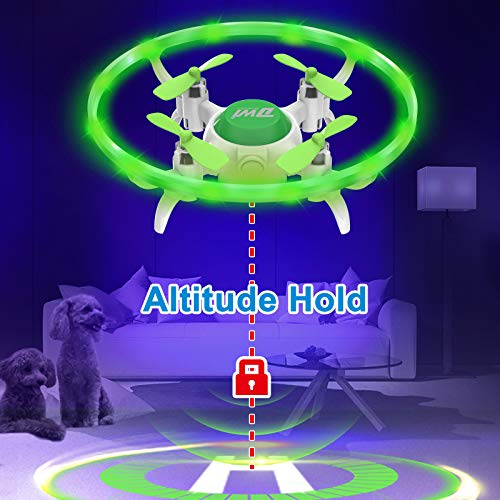 Dwi Dowellin Mini Drone for Kids with LED Lights Crash Proof One Key Take Off Landing Spin Flips RC Flying Toys Drones for Beginners Boys and Girls Adults Quadcopter with Carrying Case, Green