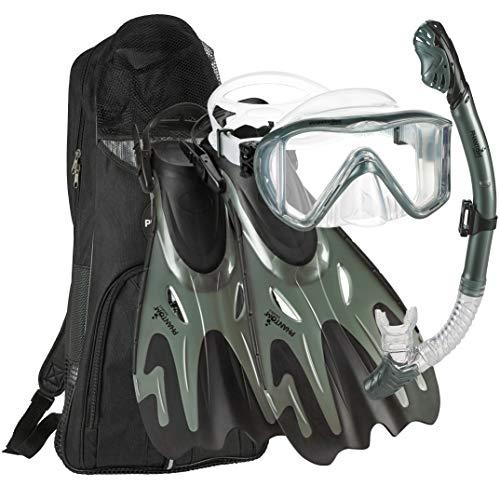 Phantom Aquatics Premium Collection Legendary Panoramic View Silicone Adjustable Mask Fin Snorkel Set with Net Bag (Designed in NYC) (Silver, S/M, 5-8)