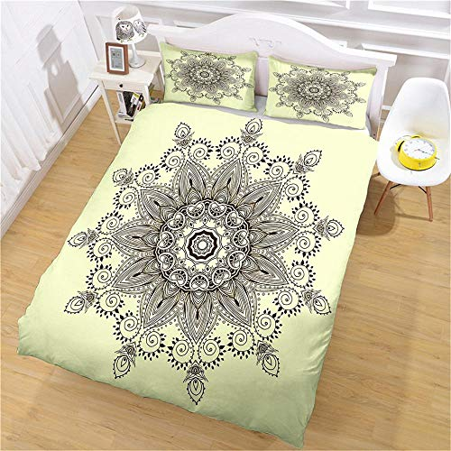 DJOIEPO Duvet Cover Set King Size 220X230cm Black mandala Quilt Cover Ultra Soft Breathable with zipper closure Duvet set with 2 pillow cases 3 Pcs Bed set for adults kids
