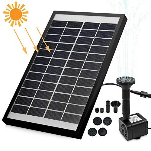 YWEN Solar Teichpumpe 5W 400L/H Wasserpumpe Solarpumpe Gartenpumpe Garten Brunnen Gartenteich Dekorieren(Maximale Sprühhöhe 90cm)