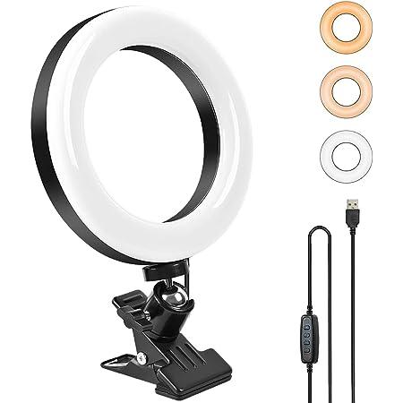 COTOP Anillo de luz LED , 6.1 '' Selfie Ring Light Video Lámpara Abrazadera Lámpara ajustable de 360 ° montada, 3 modos de iluminación 10 Brillo para fotografía TikTok Youtube Maquillaje y video-CO