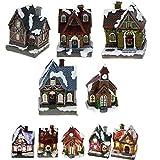 TOUS LES CADEAUX Grand Village de Noël Lumineux LED - avec 5 Grandes Maisonnettes Totalement indépendantes - Piles Incluses - Décoration de Noël, Sapin de Noël.
