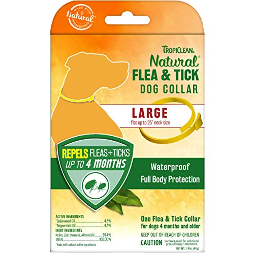 """TropiClean Natural Flea & Tick Repellent Collar for Large Dogs - Fits Up to 25"""" Neck Size – Waterproof – Repels Flea & Ticks Up to 4 Months –Natural Active Ingredients - Cedarwood & Peppermint"""