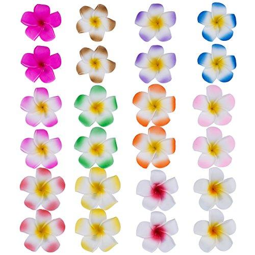 24 Pezzi 2.4 Pollice Plumeria Hawaiano Fiore Fermagli Capelli di Schiuma Clip Hawaiano per Capelli