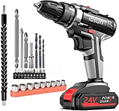 ibsun 21V Max Power Cordless Drill Electric Impact Driver/Drill Kit with 2 Variable Speed(0-1500) 3/8'' Keyless Chuck 25+1...