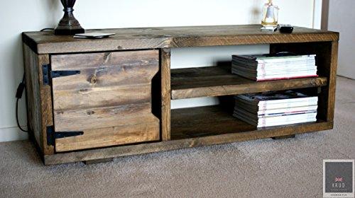 KRUD K23~ Dark Oak- 120cm ~ Retro TV Stand ~ Fatto a Mano in Legno Massiccio ~ Scaffold Stile Paese ~ Chunky Rustico Industriale 24Colori ~ TV Cabinet