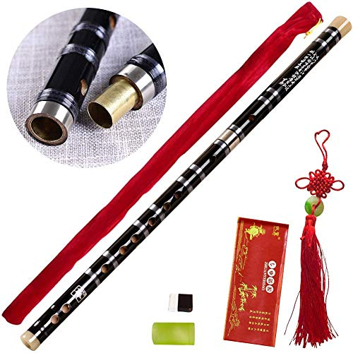 Tyuodna Pluggable F key Bitter Bamboo Flute Dizi, Chinese Traditional Handmade Musical Woodwind Instrument Key of F, with Free Membrane & Glue & Protector Set (Black)