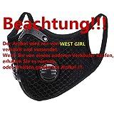 WESTGIRL Staubmaske mit Aktivkohle N95-Filtern, Waschbare und Wiederverwendbare Atemmaske für...