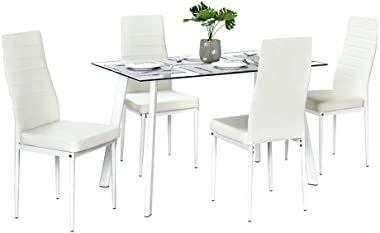 Bonnlo 5 Pieces Dining Set Dining Table and Chairs Set for 4 Persons,Kitchen Room Glass Table with 4 Chairs,Clear&White