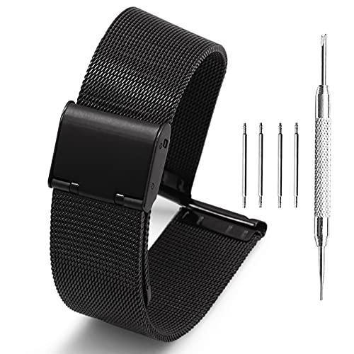 Adallor® 24mm Cinturino Orologio, Maglia Metallo di Ricambio per Sony Smartwatch 2 SW2, Fossil Q Nate Hybrid, Michael Kors Grayson/Sofie