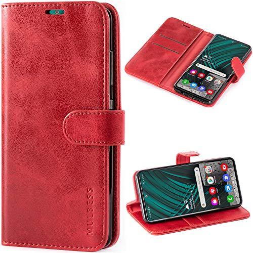 Mulbess Vintage Handyhülle für Samsung Galaxy A51 Hülle Leder, Samsung Galaxy A51 Klapphülle, Samsung Galaxy A51 Schutzhülle, Handytasche für Samsung Galaxy A51 Tasche, Wein Rot