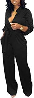 IyMoo Women's Sexy Button Down Belted Wide Leg Long Sleeve Cocktail V Neck Jumpsuit