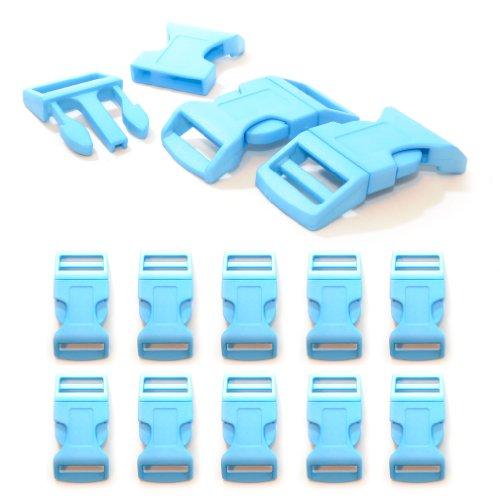 """Fermoir à clip en plastique, idéal pour les paracordes (bracelet, collier pour chien, etc), boucle, attache à clipser, grandeur: XL, 1"""", 65mm x 32mm, couleur: bleu clair, de la marque Ganzoo - lot de 10 fermoirs"""
