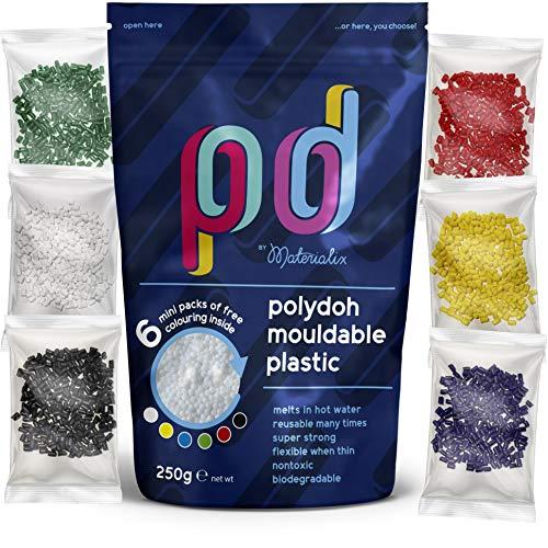 Polydoh plástico moldeable (250 g) + 6 paquetes gratis de gránulos colorantes [como polimorfo, plastimake, instamorph]