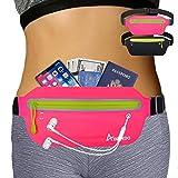 AIKENDO Gifts for Runners Slim Fanny Pack Running Belt,Water Resistant Waist Pack Bag,Belt Bag for Women,Running Gym Accessories Phone Carrier Holder for Runners(Pink)