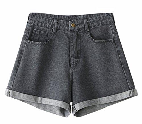 Blansdi Damen Sommer Modisch Boyfriend Kurze Hosen Denim Crimpen Stern Button Jeans Shorts Schlank Hotpants Schwarz